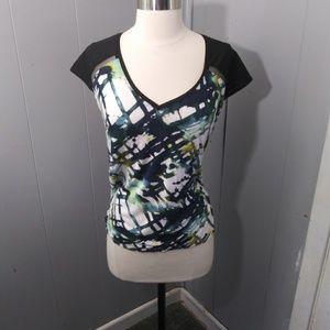 3/$20 Simply Vera Hi-lo Mesh Sleeve Abstract Top